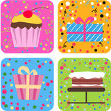 Cake and gift box Stock Photography