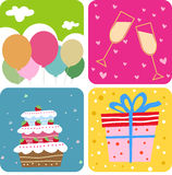 Cake and gift box vector illustration