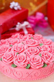 Cake and gift boxes royalty free stock photo
