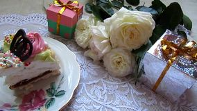 Cake with gifts and heart shaped  box stock video