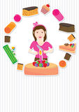 Cake Girl Card_eps. Illustration of girl with cake card on grey stripe background. --- This .eps file info Document: A4 Paper Size Document Color Mode: CMYK vector illustration