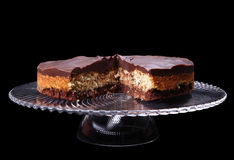 Cake on a glass stand Royalty Free Stock Image