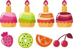 Cake with glaze. Four fruit cake with glaze vector illustration
