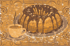 Cake with glaze and a cup of hot drink. grunge Stock Photography