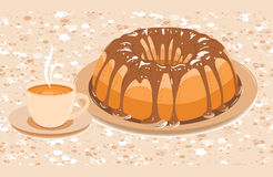 Cake with glaze and a cup of hot drink Royalty Free Stock Images