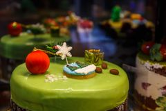 Cake with globe and fir. For winter & best occasions. Stock Photos