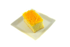 Cake golden threads Royalty Free Stock Images