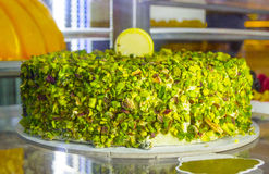 Cake. Gorgeous pistacho cake,baked in Italy Royalty Free Stock Image