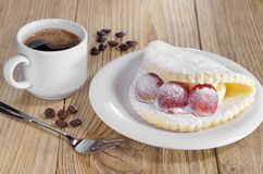 Cake with grape and coffee Royalty Free Stock Image