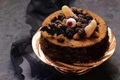 Cake with halloween decor stock photo