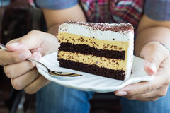 Cake in hand Royalty Free Stock Photography