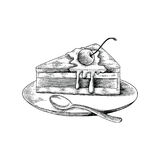 Cake hand drawing antique style on white background. Isolated on white background Royalty Free Stock Photo