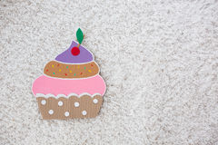 Cake handmade ​​of paper on white background Stock Images