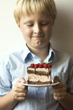 Cake in hands. Smiling happy boy (kid, child, teenager) holding in hands plate with piece of delicious homemade chocolate and raspberry cake, selective focus Stock Image