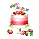 Cake with Happy Birthday lettering on a sticks. Watercolor hand drawn illustration isolated on white background.