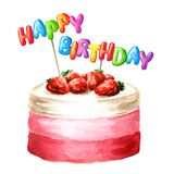 Cake with Happy Birthday lettering on a sticks. Watercolor hand drawn illustration, isolated on white background.