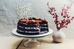 Cake with Happy Birthday sign Stock Photography