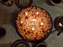 Cake. Happy Birthday table candle christmas evening night fun sweet taste of happiness Royalty Free Stock Photo