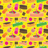 Cake Happy Seamless Pattern_eps. Illustration of cakes with love music note on yellow background seamless pattern Royalty Free Stock Photos