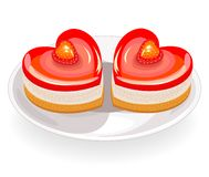 The cake has a heart shape. Exquisite sweetness. Suitable for a romantic meeting, for Valentine`s Day, like a valentine. Vector stock illustration