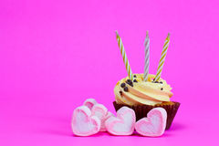 Cake with heart candys c Royalty Free Stock Photo