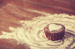 Cake with heart. Photo in old color image style stock photos