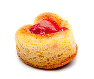 Cake in heart shape with red strawberry jam Stock Photos