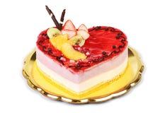 Cake heart shaped strawberry ice cream, on white backgr Stock Image