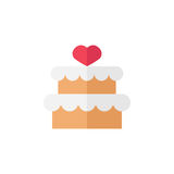 Cake with hearth icon. Cake with hearth flat icon, mother`s day, sweet vector graphics, a colorful solid pattern on a white background, eps 10 Royalty Free Illustration