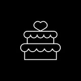 Cake with hearth icon. Cake with hearth line icon, mother`s day, sweet vector graphics, a linear pattern on a black background, eps 10 Royalty Free Illustration