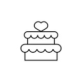 Cake with hearth icon. Cake with hearth line icon, mother`s day, sweet vector graphics, a linear pattern on a white background, eps 10 Stock Illustration