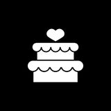 Cake with hearth icon. Cake with hearth solid icon, mother`s day, sweet vector graphics, a filled pattern on a black background, eps 10 Royalty Free Illustration