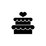 Cake with hearth icon. Cake with hearth solid icon, mother`s day, sweet vector graphics, a filled pattern on a white background, eps 10 Vector Illustration
