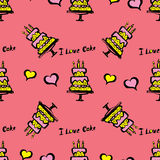 Cake and hearts seamless pattern Royalty Free Stock Photos