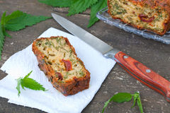 Cake with herbs and tomatoes royalty free stock photo