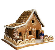 Cake home shape. Gingerbread cake in the shape of house isolated Stock Photography