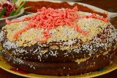 Cake. Homemade cake with chocolate crumb and cream Stock Images