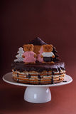 Cake honey cake decorated with figures Stock Photography