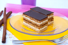 Cake with honey and marmalade. Slices of cake with honey and marmalade Royalty Free Stock Image