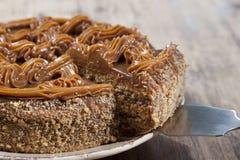 Cake with honey shortcakes, cream boiled condensed milk Stock Image