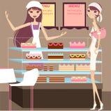 Cake house. A pretty girl having tea break Royalty Free Illustration