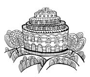 Cake house with trees from candy page coloring contour doodle  illustration Royalty Free Stock Photo