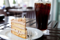 Cake and ice black coffee Royalty Free Stock Image