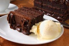 Cake and ice cream. A slice of chocolate cake and vanilla ice cream Stock Photo