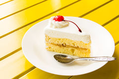 Cake ice cream. Cake ice  cream on a white plate Royalty Free Stock Images