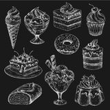 Cake and ice cream chalk sketch on blackboard Stock Photos