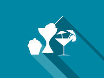 The cake, ice cream and cocktails icons with long shadow. Vector Royalty Free Stock Images