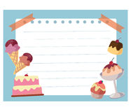 Cake and ice cream frame background Stock Photo