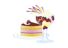 Cake and ice cream with fruits. Piece of cake and ice cream with fruits and whipped cream royalty free illustration