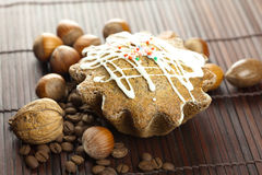 Cake with icing, coffee beans and nuts Stock Images